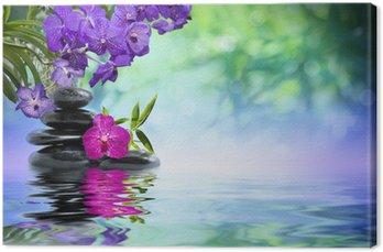 Fioletowe storczyki, czarne kamienie na wodzie