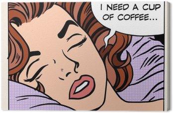 woman dreams morning cup coffee