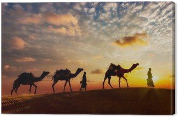 Dwa cameleers (camel drivers) z wielbłądów w wydmach Thar deser