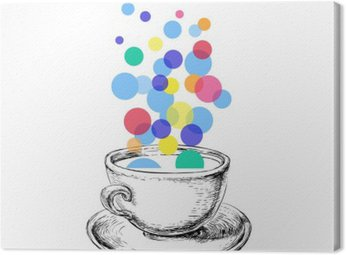 Art Sketch Coffee Cup Bubbles Hand Drawn