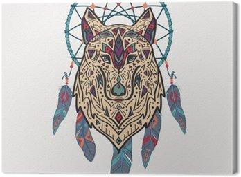 Wektor kolorowych ilustracji stylu tribal wilka z ozdobami etnicznych i Dream Catcher. Amerykańskie motywy Indyjskim. Totem tatuaż. Konstrukcja Boho.