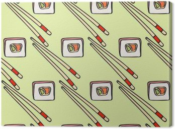 Szwu z kreskówki japońskiej żywności ikony rysowane ręcznie - sushi z awokado, omlet, ryb. Doodle rysunek. Vector ilustracji - próbkę środka
