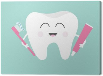 Tooth holding toothpaste and toothbrush. Cute funny cartoon smiling character. Children teeth care icon. Oral dental hygiene. Tooth health. Baby background. Flat design.