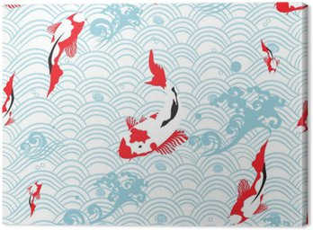 Jednolite wzór orientalne tekstury z karp koi; ilustracji wektorowych