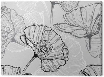 Monochrome seamless pattern with poppies. Hand-drawn floral background
