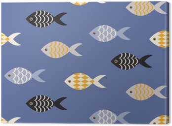 Vector black and white fish seamless pattern. School of fish in rows on blue ocean pattern. Summer marine theme.