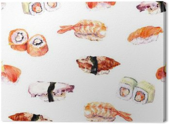 Sushi, powtórz rolki szwu wzór żywności. Akwarela