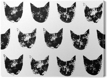 Cat głowy grunge druki szwu w kolorze czarnym i białym, wektor