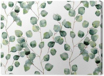 Akwarela zielony kwiatowy szwu z okrągłymi liśćmi eukaliptusa. Ręcznie malowany wzór z gałęzi i liści eukaliptusa srebrnego dolara na białym tle. Do projektowania lub tła