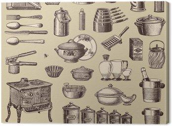 Wektorowa zestaw: kuchnia i gotowanie - zabytkowe elementy projektu