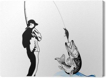 Rybak złapał szczupaka, ilustracji wektorowych