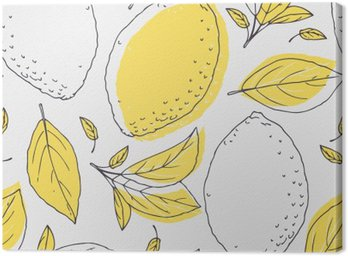 Outline seamless pattern with hand drawn lemon and leaves. Doodle fruit for package or kitchen design