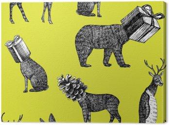 hand drawn winter animals seamless background