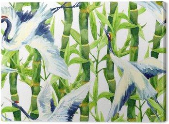 Akwarela azjatyckiego ptaka żurawia bez szwu wzór