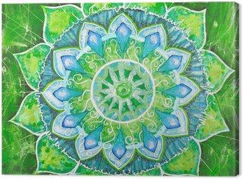 Streszczenie zielony namalowany obraz z okręgu deseń, mandala