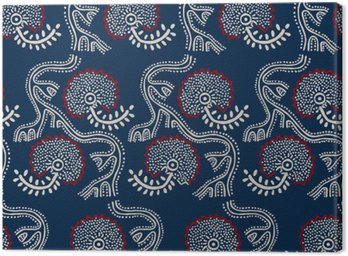Seamless floral pattern, traditional block printed ornament, handmade Russian motif with ecru and red flowers on navy blue background. Textile print.
