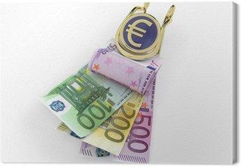 Banknotów euro w klipie pieniędzy na białym tle