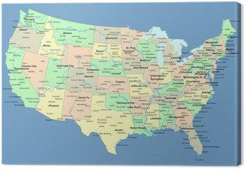 Mapa usa z nazwami państw i miast