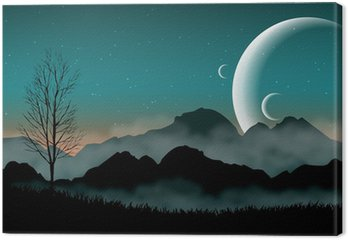 SF space night sky with silhouette mountains and close planets