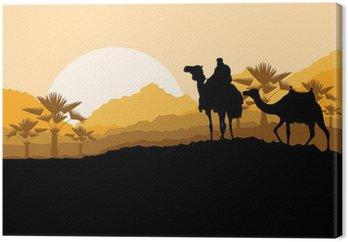 Camel caravan w dzikiej górskiej przyrody deseń krajobraz pustynny