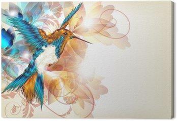 Kolorowe wektora projektu z realistyczną O kolibry i kwiatów