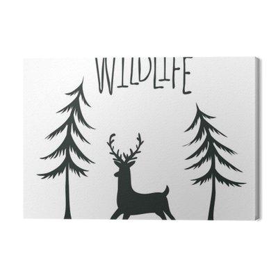 Wildlife wzór druku z jelenia i sosen. Wektor ilustracja krajobraz na zewnątrz.