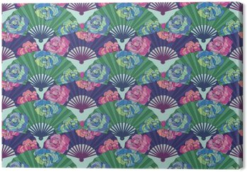PATTERN Oriental fan decorated with roses flowers