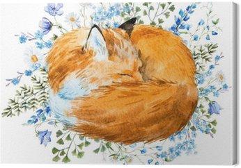 Watercolor sleeping fox