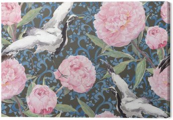 Crane birds, peony flowers. Floral repeating chinese pattern. Watercolor