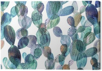 Cactus pattern in watercolor style.