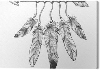Vintage Narodzenie ręcznie rysowane strzałki z piór. Tribal boho indian dreamcatche talizman na białym tle. ilustracji wektorowych