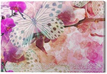 Motyle i orchidee kwiaty różowe tło (1 zestaw)