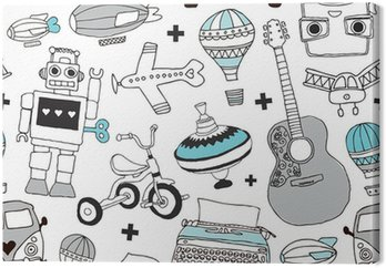 Seamless vintage boys toys background pattern in vector