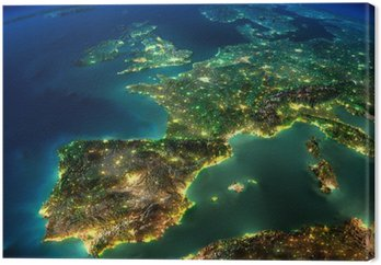 Noc ziemia. kawałek Europy - Hiszpanii, Portugalii, Francji