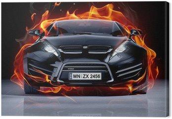Pożar samochodu na lodzie. Brandless samochód sportowy.