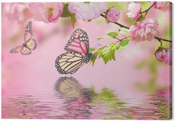 Różowy kwiat orientalny wiśni w i motyl