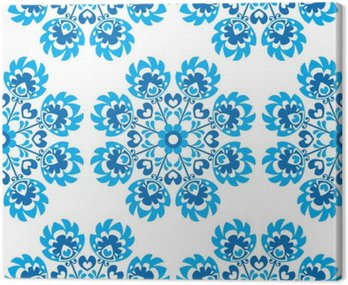 Seamless blue floral Polish folk art pattern - wycinanki
