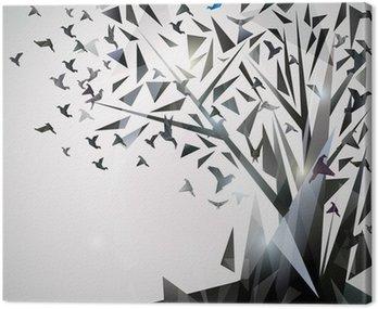 Abstrakcyjna drzewa z ptaków origami.