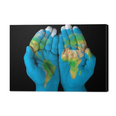 Mapa malowane na hands.Concept posiadania świat w naszych rękach
