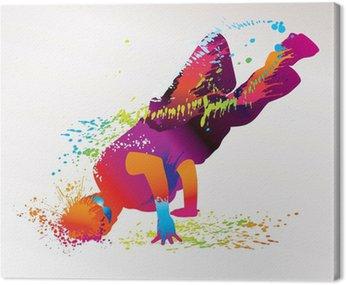 Chłopiec taniec z kolorowe plamy i odpryskami. wektor