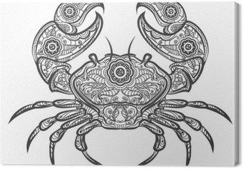 Crab zentangle icon. Vector hand drawn crab