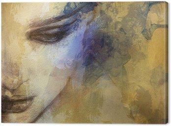 Piękna twarz kobiety. Akwarele ilustracji