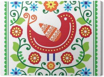 Sztuka ludowa deseń z ptaków i kwiatów
