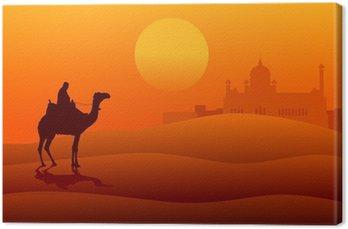 Ilustracja Sylwetka arabskich jazda na wielbłądzie