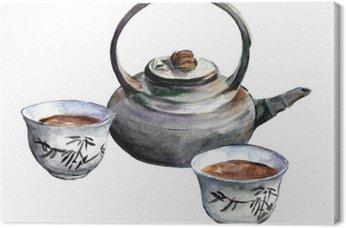 Traditional china tea set. Watercolor
