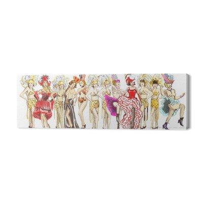 Cancan tancerze - Retro obraz z dużą ilością występów dziewczyn