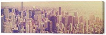 Vintage stonowanych Manhattan Skyline o zachodzie słońca, NYC, USA.