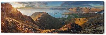 Panorama Norwegia Krajobraz z oceanu i góry - Lofoty