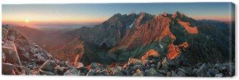 Mountain sunset panorama ze szczytu - Słowacja Tatry