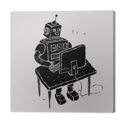 Robot wykorzystuje komputer